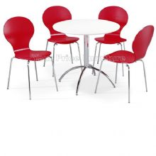 Kimberley Dining Set White Table & 4 Red Chairs 1/2 Price Deal